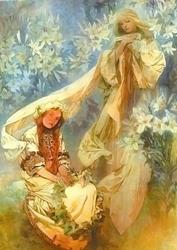 Стиль Модерн в других видах искусства живопись музыка доклад  Альфонс Муха Мадонна c лилиями