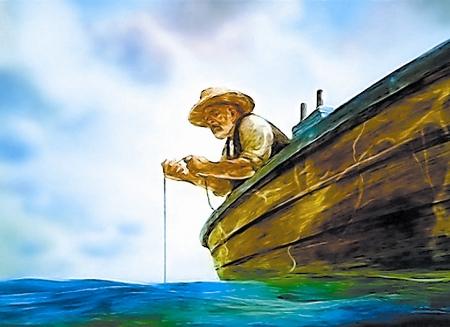 Экранизации повести Э М Хемингуэя Старик и море доклад  Кадр из мультфильма Старик и море 1999