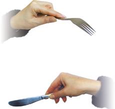 Понятие этикета при потреблении пищи Правила поведения за столом  Рис 201 Правильное удерживание вилки и ножа