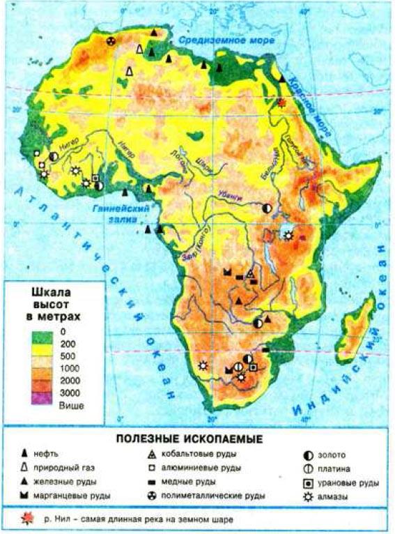 Рельеф Африки География Реферат доклад сообщение краткое  Рис 46 Физическая карта Африки