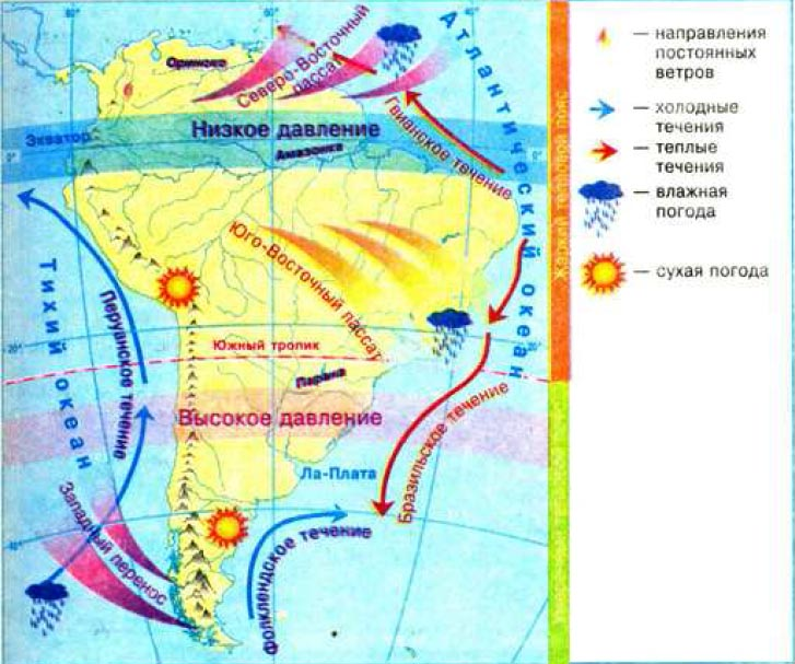 Формирование климата Южной Америки География Реферат доклад  Особенности климатообразующих факторов Южной Америки