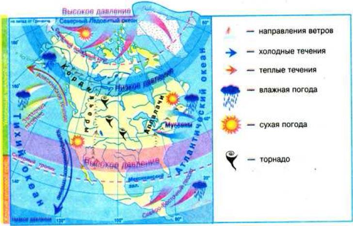 Формирование климата Северной Америки География Реферат доклад  Рис 143 Особенности климатообразующих факторов Северной Америки